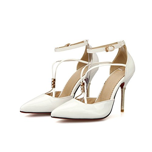 Balamasa Filles Bandage Bout Pointu En Cuir Verni Pompes-chaussures Blanc