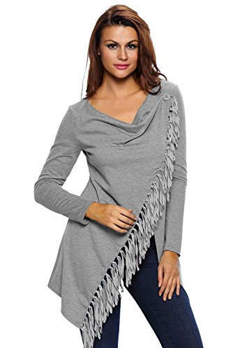 Nueva mujer gris asimétrico con flecos Poncho chaqueta capucha Casual Wear tamaño M UK 12UE 40