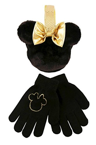 Disney Minnie Mouse Black and Gold Girls Earmuff and Gloves Set [4013]