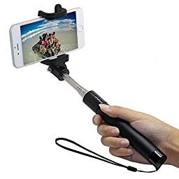 Selfie Stick Bluetooth,abaybay Extendable Selfie Stick with Built-in Remote Shutter with Adjustable Phone Holder for Iphone phone,samsung phone, Black