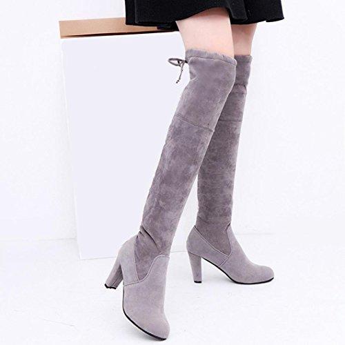 Bottes hautes avec des fines avec des bottes à talons hauts bottes imperméables de hautes bottes en noir, blanc 36