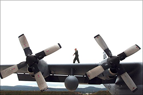 24x36 Poster . Technician Walks Wing Of C-130 Hercules Ramstein 37Th Airlift - Air 37th