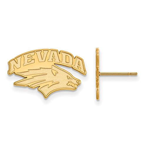 14k Yellow Gold LogoArt Official Licensed Collegiate University of Nevada (UNLV) Small Post Earrings by LogoArt