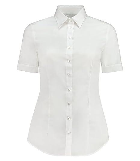 b459349ee5a11 HAWES   CURTIS Ladies Plain White Short Sleeve Fitted Shirt - Elegant  Womenswear