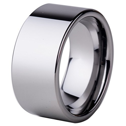 Men Women 10mm Silver Tungsten Carbide Ring Simple Wedding Engagement Promise Eternity Band Flat Top Size 13