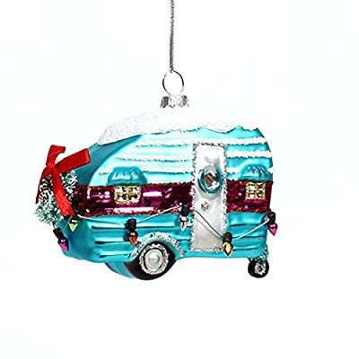 Vintage RV Camper Glass Christmas Tree Ornament, Retro Camping Decor, Travel Trailer Holiday Accessories Gifts for Campers
