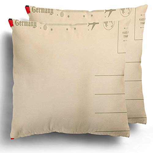 Staropho Throw Pillow Covers 2 Pack Back Vintage Map of Germany Air Airmail Cute Flag Cotton Cushion Case Winter Home Decor 20 x 20 Inches