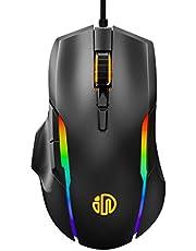 inphic Mouse Gaming, 4800DPI Mouse da Gioco Ottico USB con Cavo, Regolazione 5 DPI, 6 Pulsanti Programmabili, 7 LED RGB con Peso Extra per i Giocatori, PC Laptop Mac, Grigio