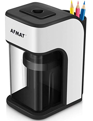 Electric Pencil Sharpener, Heavy Duty Pencil Sharpener with Built-in Pencil Holder, Fast Sharpen in 4 Seconds, Perfect for No.2 and Colored Pencils, School Home Office Use(Power Adapter Included) by AFMAT