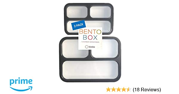 1b5d361e9114 Bento-Boxes for Teens, Adults, Women 2 Pack  Bento Lunch Box + Snack  Container Set   Grey Black Large + MINI 2 pack)