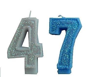 2 Piezas Vela de Cumpleaños con Derzahl 47