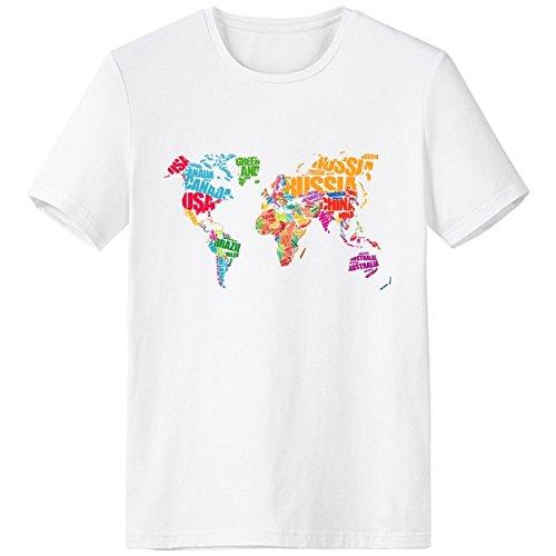 Amazon beautiful world mutlicolour world map countries city beautiful world mutlicolour world map countries city illustration pattern crew neck white t shirt gumiabroncs Gallery