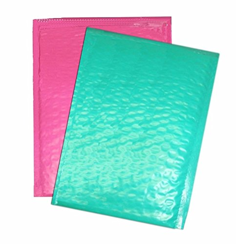Pink Teal Padded Bubble Mailers