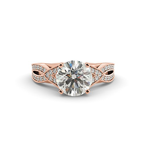 2.40 tcw Round Cut Charles & Colvard Forever One Moissanite & Natural Diamond Engagement Vintage Ring 14k White Rose Yellow Gold V Shape Split (Tcw Natural)