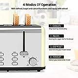 JOOFO 4 Slice Toaster,6 Shade Settings Extra-Wide