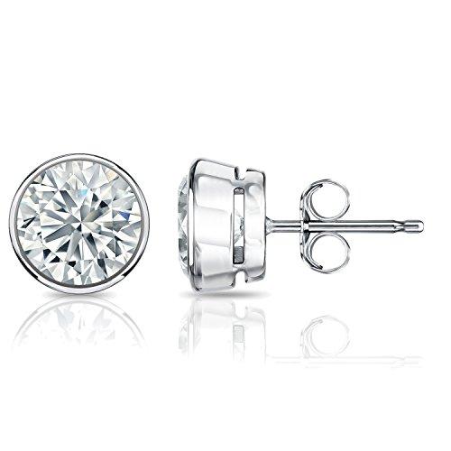 14k White Gold Round Diamond Stud Earrings Bezel (1/5 cttw, H-I Color, I2-I3 Clarity)