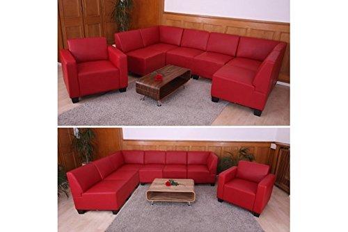 6-1 Sofa rot Couchgarnitur Couch Sofa Kunstleder Sofagarnitur Sessel modern