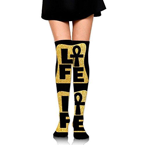 Africa Gold Ankh Unisex Over Knee High Socks Extra Long Athletic Sport Tube Socks by Blinkin