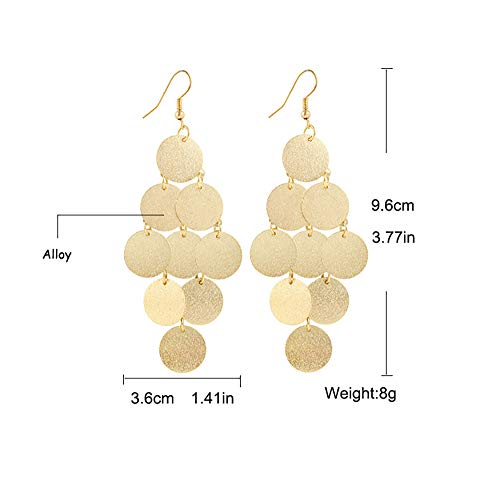 MIXIA Lightweight Small Mini Brushed Disc Round Sequins Coin Tassel Dangle Earrings Minimalist Everyday Simple Jewellery Gift (Gold)