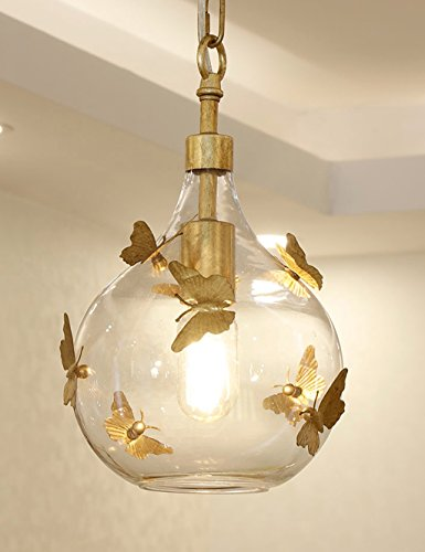 Docheer Vintage Rust Metal and Glass Ceiling Pendant Light for Kitchen Island, Bedroom, with Gold Iron Butterfly Decor, Glass Gold Chandelier for Dinning Room Home Decoration by Docheer (Image #3)