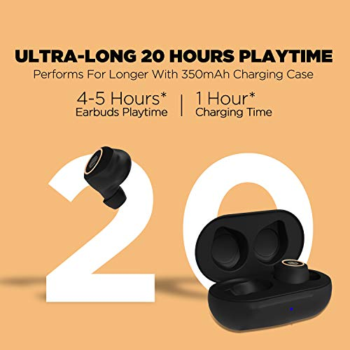 Nu Republic Starbuds 2 True Wireless Earbuds(TWS),BT V5.0,Upto 20Hrs Play Time, Compact case with Type-C Charging Cable, Touch Control, Sweat & Water Resistant, Voice Assistant with Mic-Black & Gold