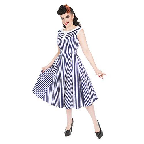Ausgestellt Streifen Hearts London Blau Roses Seemanns Vintage Jahre Retro amp; Sommerkleid 1950s qwAxRwB