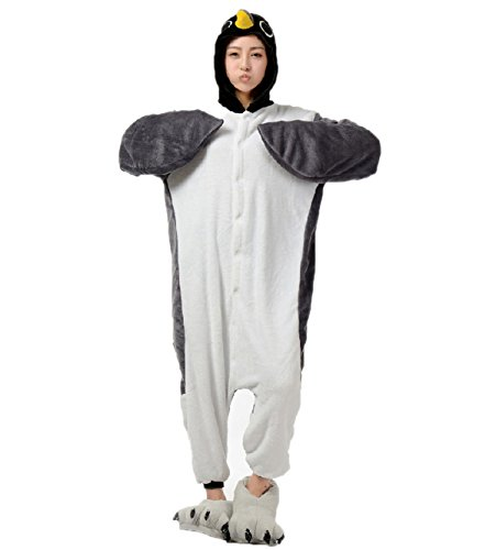 [Adult Grey Penguin Onesie Costume for Women Men Kigurumi Pajamas Animal Cosplay Partywear M] (Animal Costumes Coupon Code)