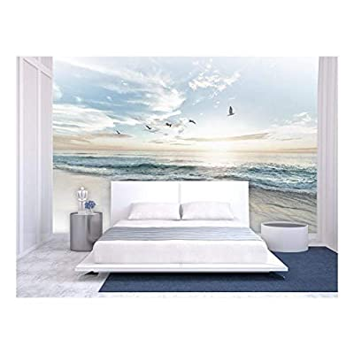 Grand Work of Art, Large Wall Mural Seacape with Waves on The Beach and Flying Seagulls Vinyl Wallpaper Removable Wall Decor, Premium Product
