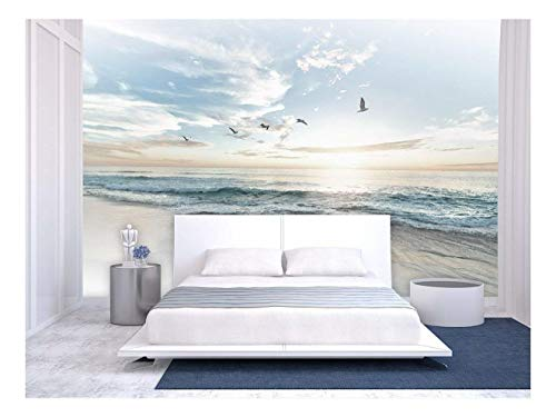 Large Wall Mural Seacape with Waves on The Beach and Flying Seagulls Vinyl Wallpaper Removable Wall Decor