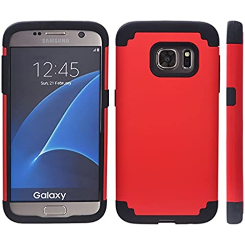 Samsung Galaxy S7 Edge Hybrid Case Black Skin + Red PC + Includes VG Brand High Quality Earbuds Sales