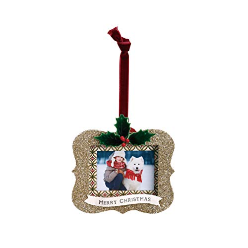 - DEMDACO Merry Christmas Glitter Frame 4.5 x 4 Inch Holiday Photo Frame Hanging Ornament