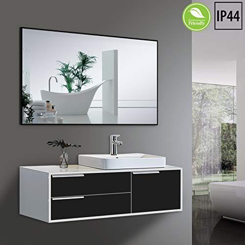 Yukon Clean Large Modern Rectangular Bathroom Frame Wall Mirror, Contemporary Premium Silver -