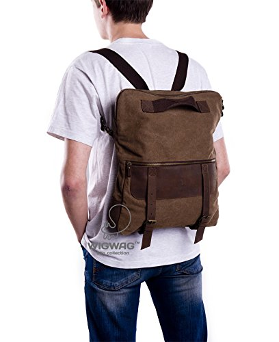 Convertible men's bag, canvas leather men's bag, men's bag, men's canvas leather backpack, shoulder bag, crossbody bag, tablet mens bag by TM Wigwag
