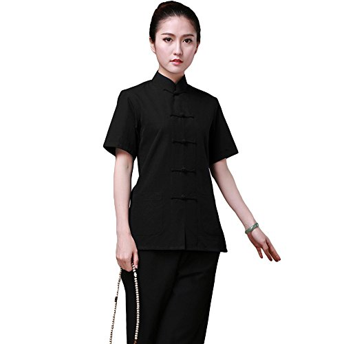 ZooBoo Chinese Traditional Clothing Dress - Tang Style Tai Chi Tang Suit Short-sleeved Martial Arts Kung Fu Uniforms Outfit Costume Suit Shirt Blouse Apparel Clothing for Women (Black, M)