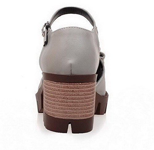 Sandales à Petite PU Boucle Correct Cuir Gris Femme Talon TSFLG005106 AalarDom Ouverture xYqXzUS