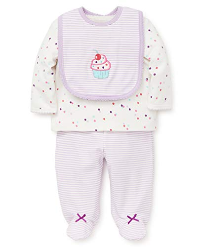 (Little Me Baby Girls Lap Shoulder Set with Bib, Cupcake Multi/Orchid Bloom, 3 Months)
