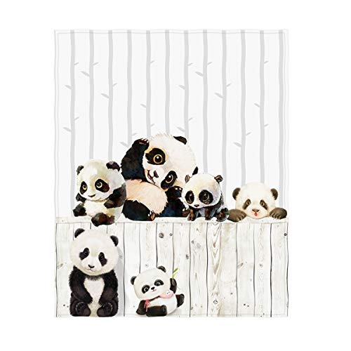 - QH 60 x 80 Inch Cute Pandas Pattern Super Soft Throw Blanket for Bed Sofa Lightweight Blanket Throw Size for Kids Adults All Season