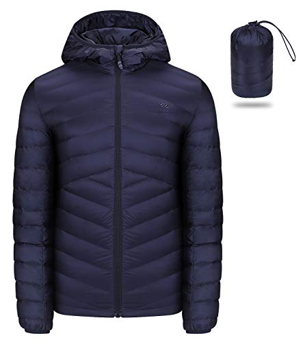 CAMEL CROWN Men's Packable Down Jacket Hooded Lightweight Puffer Insulated Coat for Travel Outdoor Hiking Dark Blue (Best Outdoor Down Jacket)