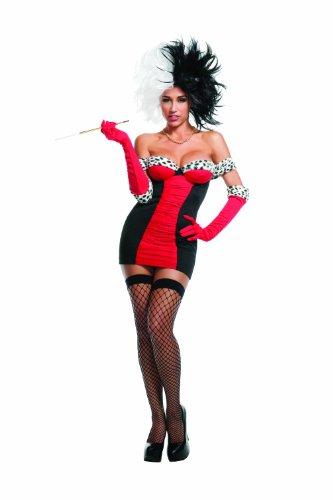 [Starline Cruele La Villian Women's Costume Set with Wig, Black/Red, X-Large] (Villian Costumes)