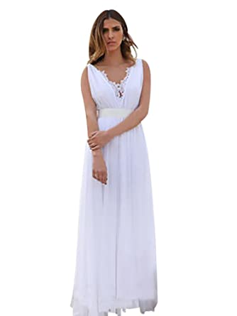 Harsuccting Lace V-Neck Sleeveless Backless Silk Sash Long Chiffon Wedding Dress Ivory 2