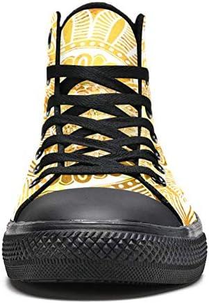 TIZORAX Giallo Mandala Alta Top Sneakers per Donne Teen Gilrs Moda Pizzo Scarpe Di Tela Casual Scuola Passeggiata Scarpa