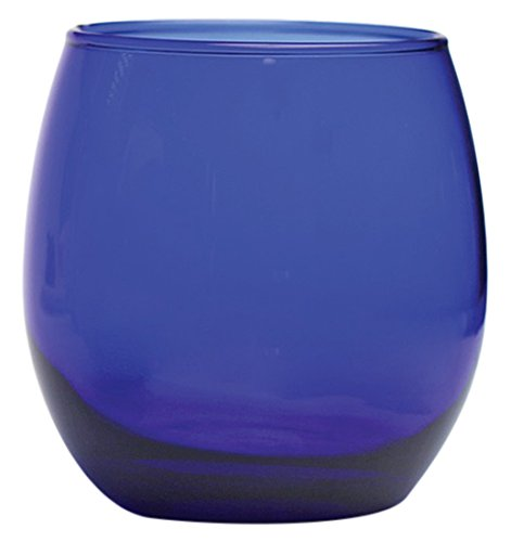 Circleware Uptown Cobalt Stemless Red-White Wine Glasses, Set of 4, 11.5 - Glasses Blue Colbalt