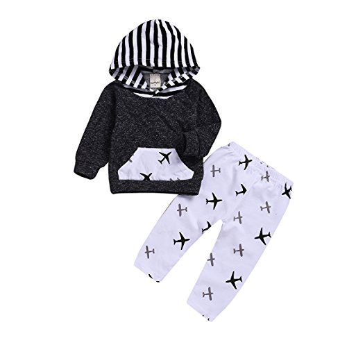 XiaoReddou Toddler Infant Baby Airplane Long Sleeve Hoodie Tops Sweatsuit Pants Outfit Set (Gray, White, 12-18months)