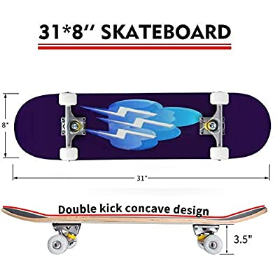 Classic Concave Skateboard Cloud air Lightning Thunder Day Longboard Maple Deck Extreme Sports and Outdoors Double Kick Trick for Beginners and Professionals : Sports & Outdoors
