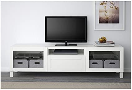 IKEA TV Unit, Hanviken, Sindvik blanco claro vidrio 20202.20526.3426: Amazon.es: Hogar