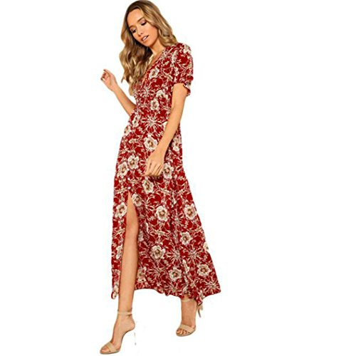 Price comparison product image Hemlock Long Boho Dress Women Summer Floral Print Beach Sundrss Split V-Neck Maxi Dress (XL,  Red)