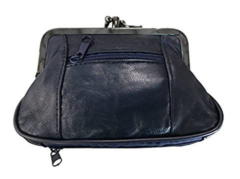 100% Leather Change Purse with Clasp BL