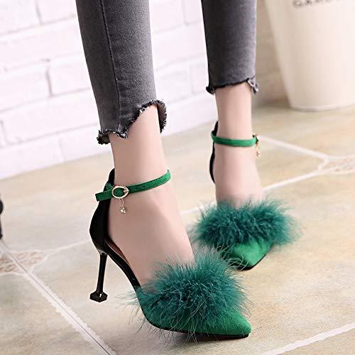 Yukun zapatos de tacón alto Los Zapatos De Las Mujeres De Cercanías con El Satén De Tacón Alto del Club Nocturno De La Punta De La Profundidad Eran Delgados con Sandalias, 38, Verde Green