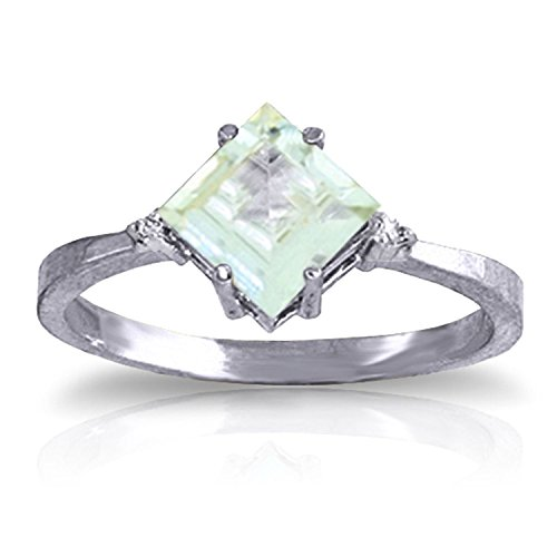 ALARRI 1.77 Carat 14K Solid White Gold Ring Diamond Aquamarine With Ring Size 5