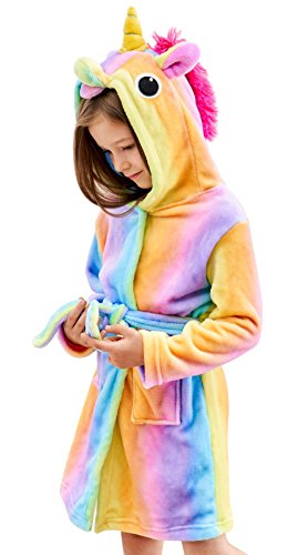 Soft Unicorn Hooded Bathrobe - Unicorn Gifts for Girls (5-6 Years, Rainbow) (Personalized Christmas Pajamas)